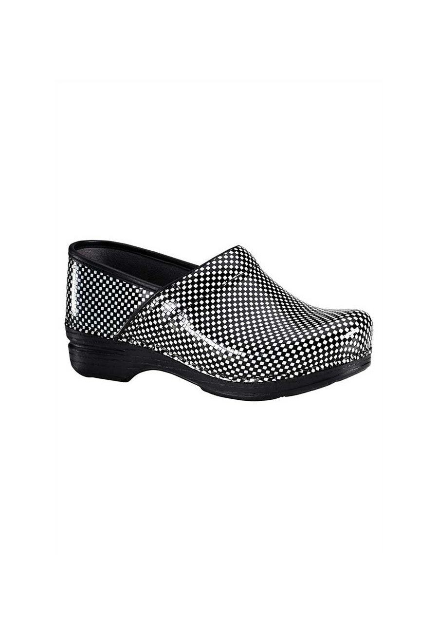 Dansko Pro XP Check Patent Nursing Clogs - Black/White Check Patent - 38 plus size,  plus size fashion plus size appare