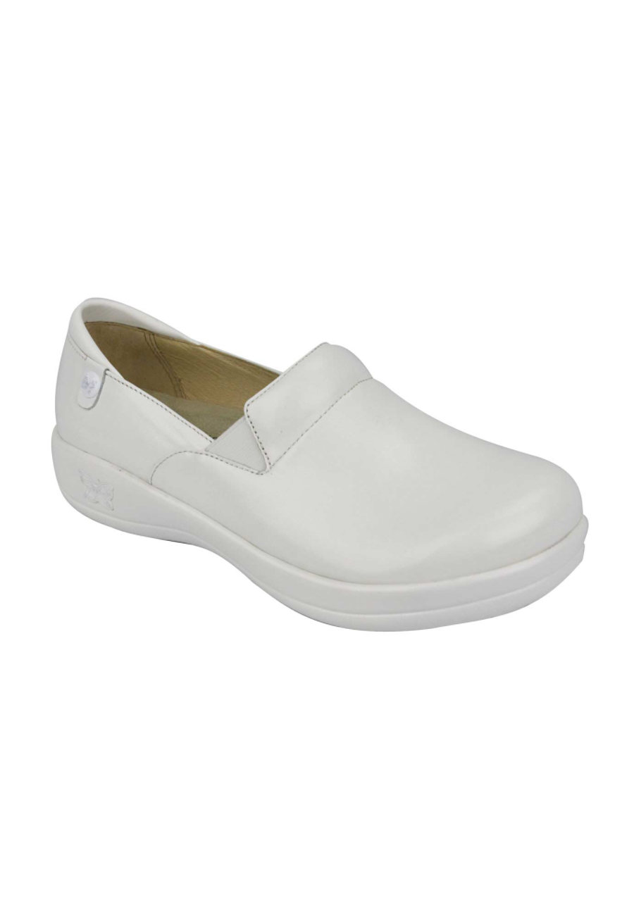 Alegria Keli White Waxy Nursing Clogs - White Waxy - 38 plus size,  plus size fashion plus size appare