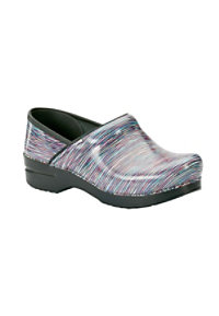Dansko Professional Pastel Striped Patent nursing clogs.