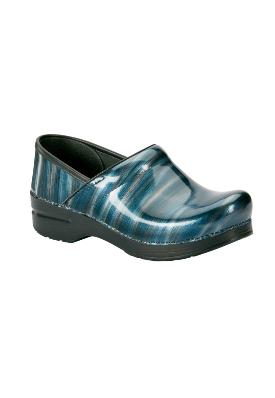 Dansko Professional Silver Blue Stripe Nursing Clogs/Blue Stripe