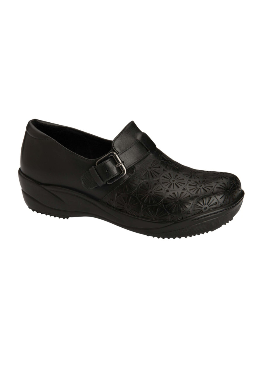 Anywear Maryann Slip Resistant Leather Lazer Cut Nursing Clogs