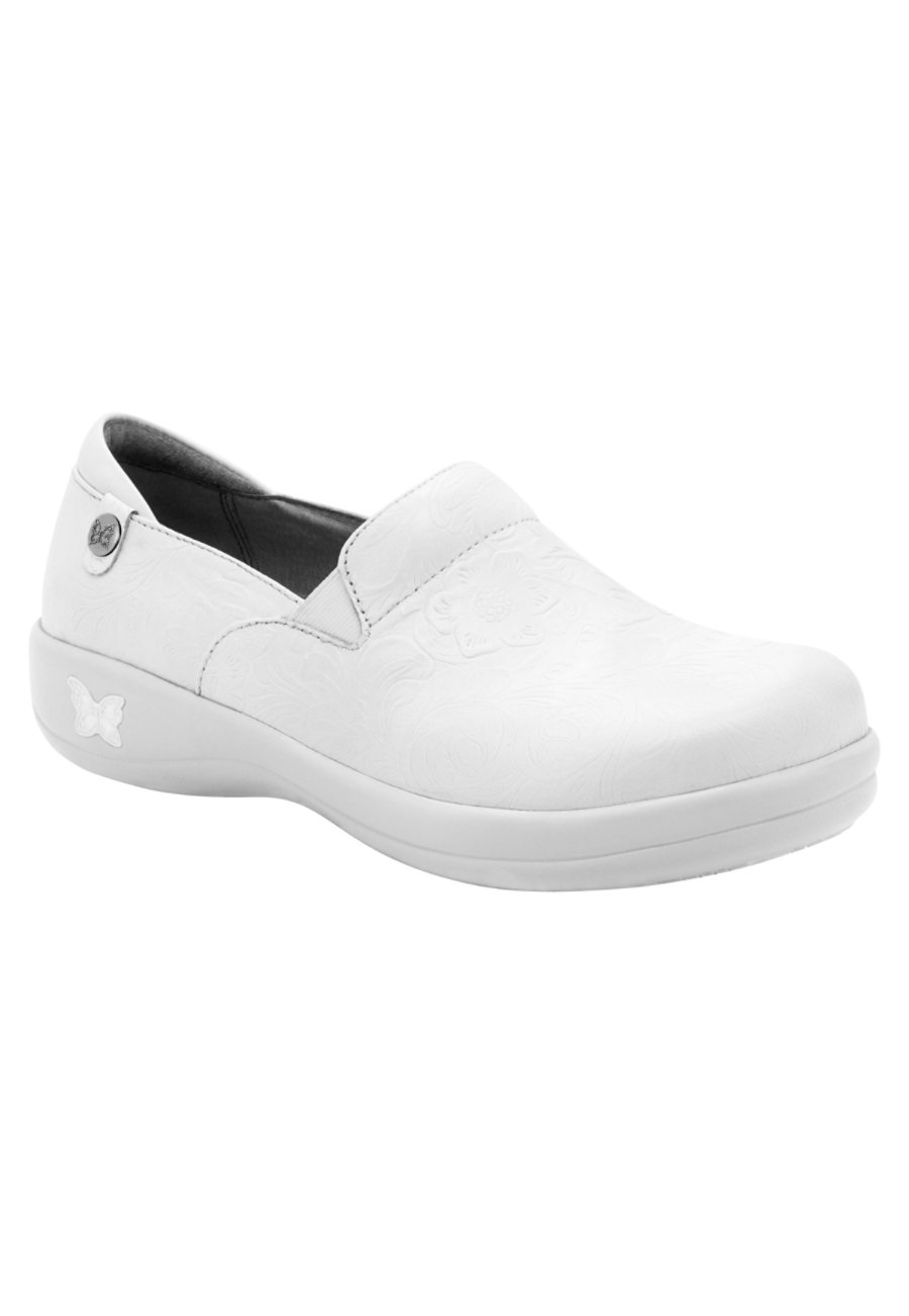 Alegria Keli Pro White Tooled Nursing Clogs Tooled