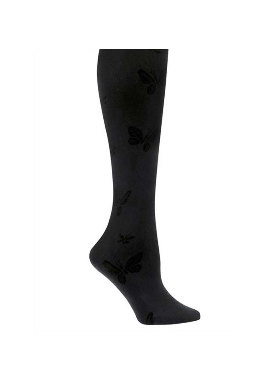 Nurse Mates Butterfly Compression Trouser Socks - Black - OS plus size,  plus size fashion plus size appare