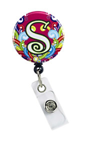 Initial This Pink Swirl Retractable Badge Holders