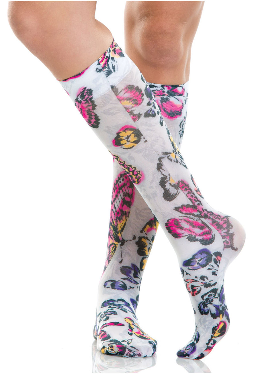 Cherokee Legwear Fashion Support Compression Socks - Butterfly Oasis