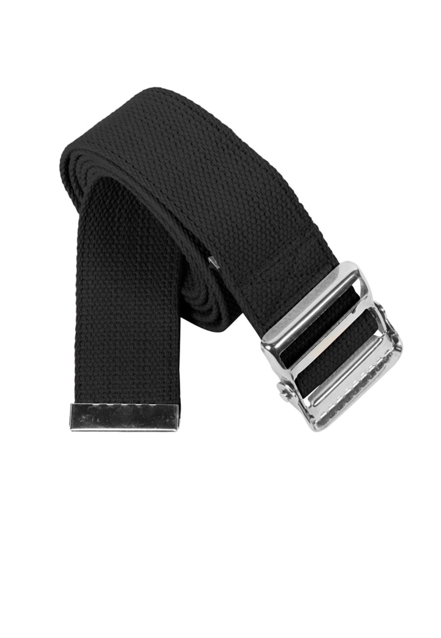 Beyond Scrubs Cotton Gait Belts With Metal Buckle - Black - OS