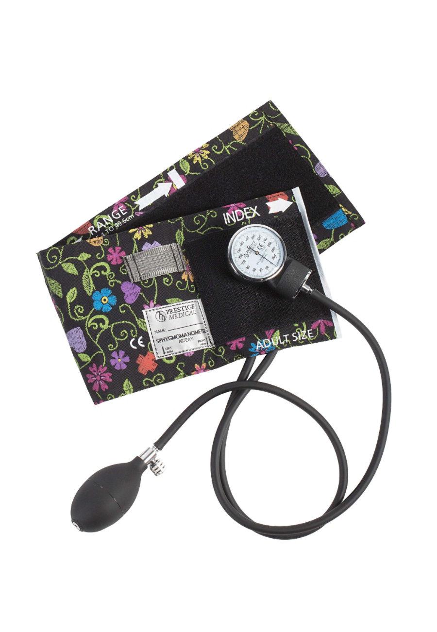 Beyond Scrubs Premium Aneroid Sphygmomanometer Printed Cuffs - Floral Stitch Black