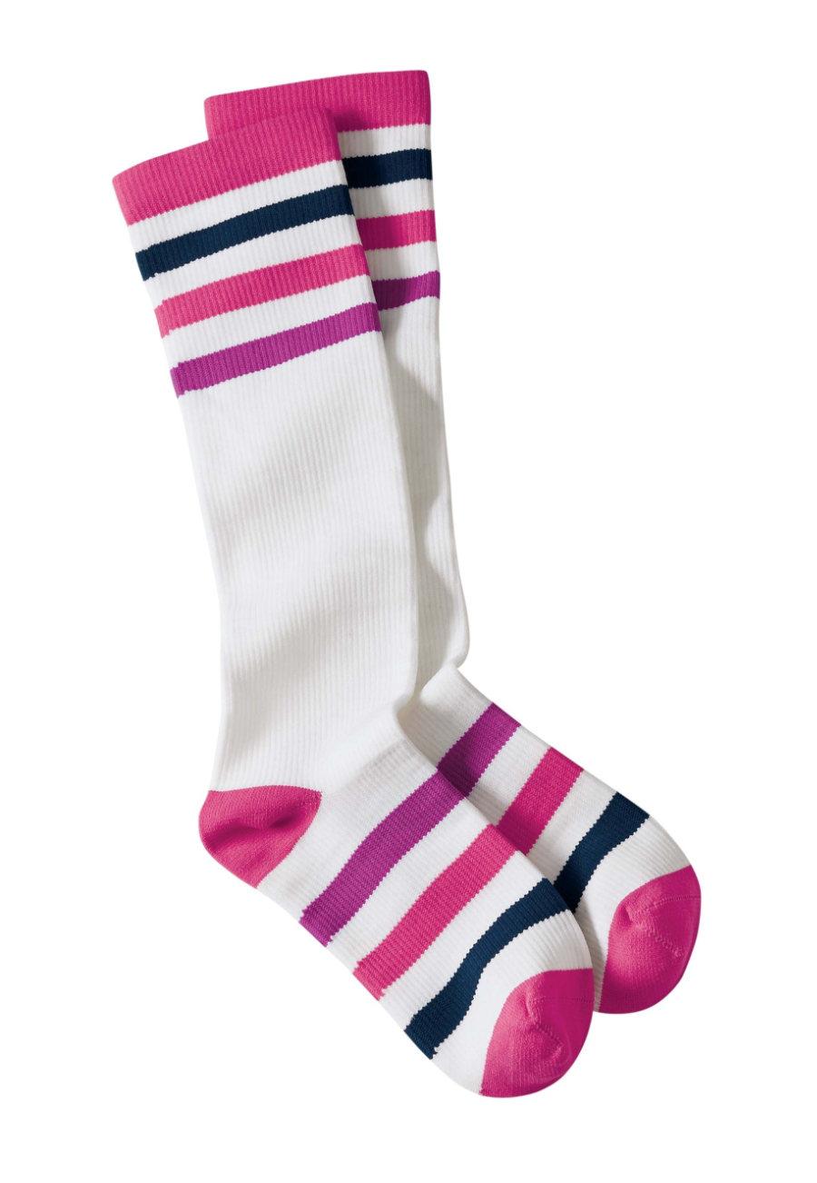 Beyond Scrubs Multi Stripes Compression Socks/Purple/Pink Stripes