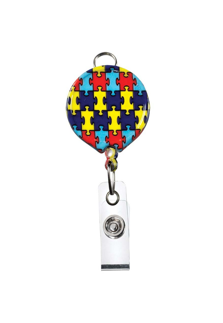 Beyond Scrubs Retractable Print Badge Holders - Autism