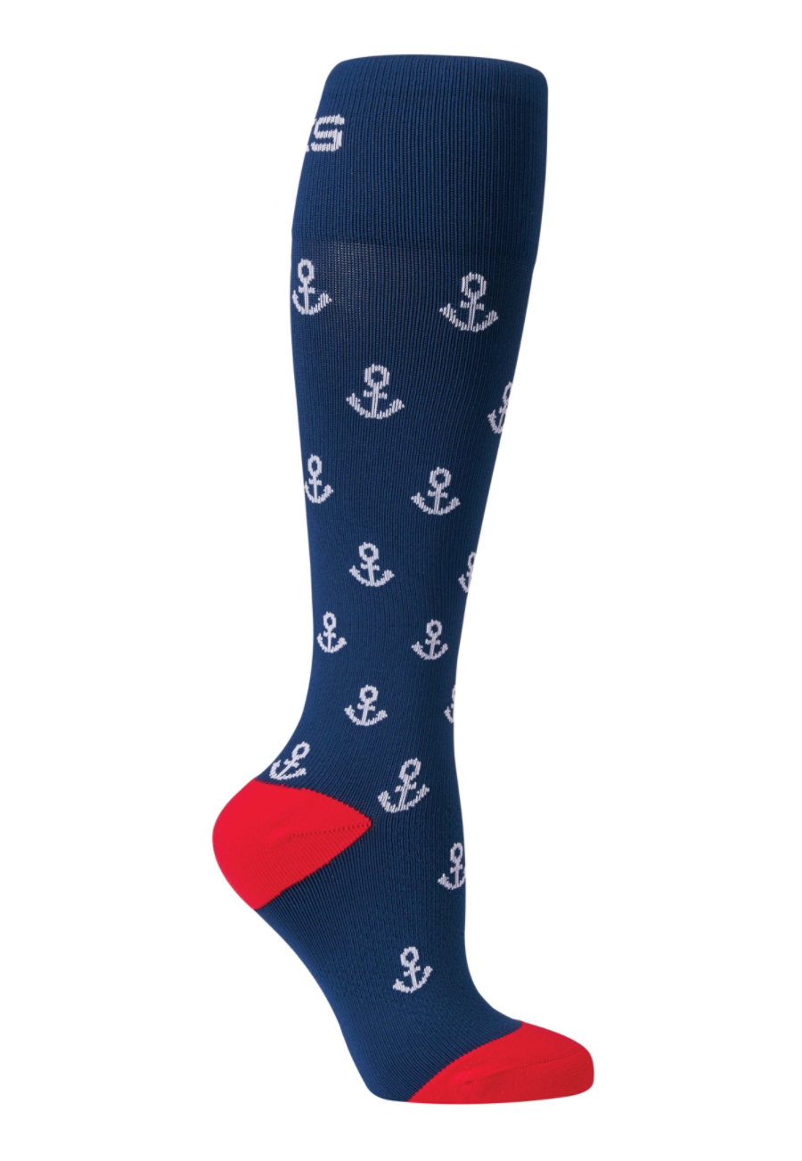 Image of About The Nurse Anchor Print Medical Compression Socks - Anchor - M