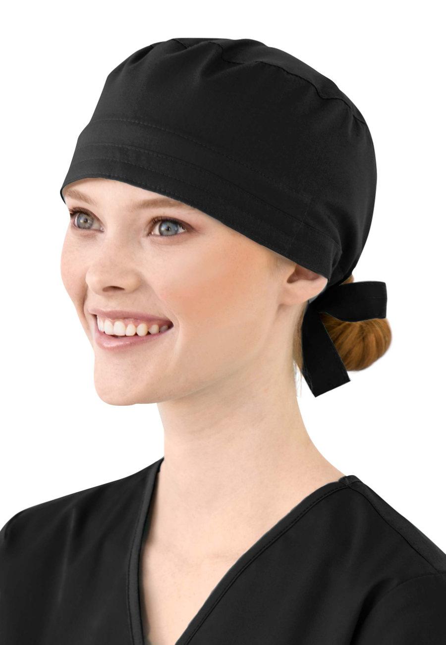 WonderWork Unisex Solid Scrub Caps - Black - OS plus size,  plus size fashion plus size appare