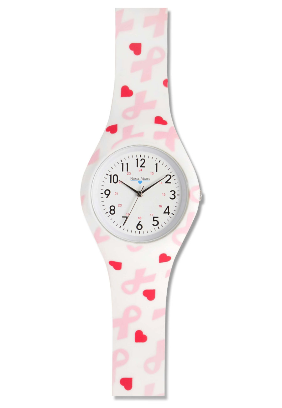 Nurse Mates Pink Ribbons Silicone Watches - Pink Ribbons print - OS