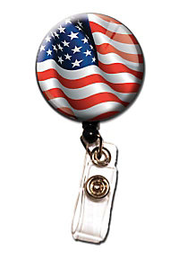 Initial This Patriotic Retractable Badge Holders