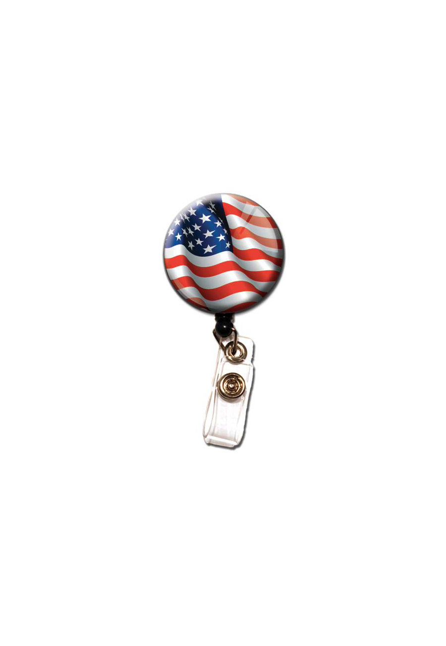 Initial This Patriotic Retractable Badge Holders - Flag