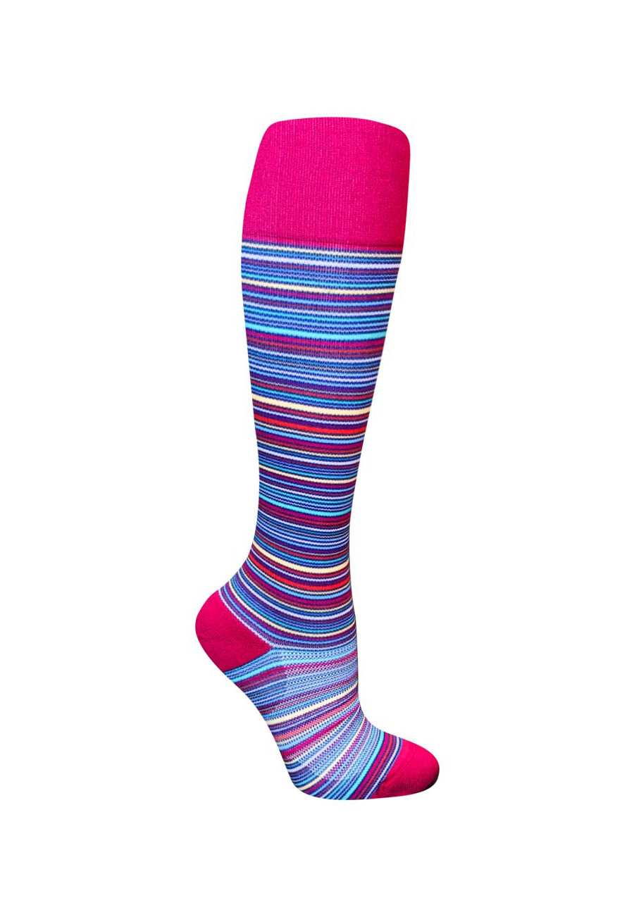 Image of About The Nurse Multi Stripes Compression Socks - Berry Stripe - 2X