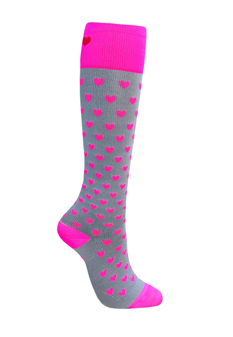 About The Nurse Pink Hearts Love Medical Compression Socks - Grey/Pink Hearts - 2X