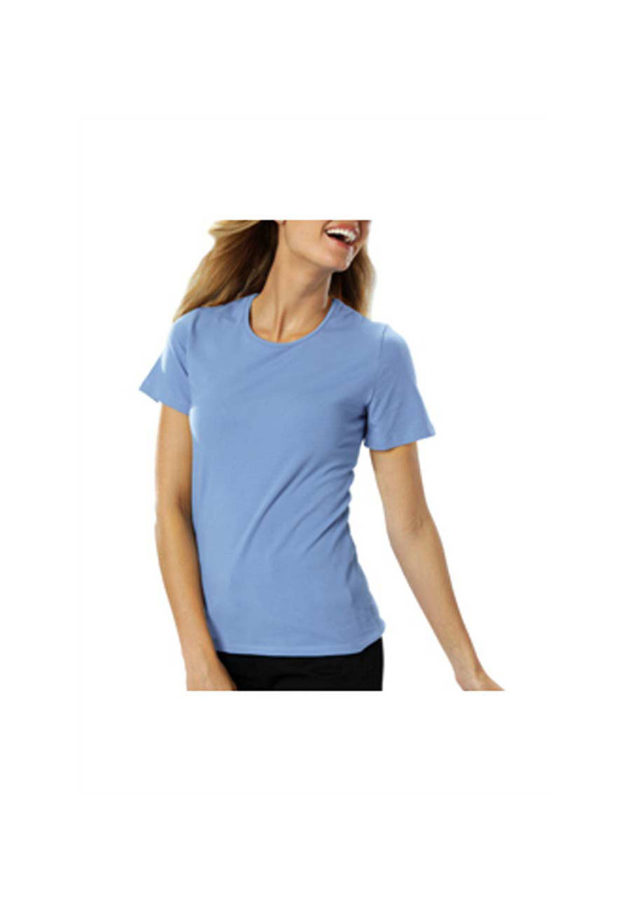 Blue Generation Ladies Short Sleeve Jewel Neck Tees - Light Blue - 2X