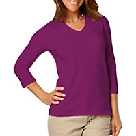 Blue Generation Ladies 3/4 Sleeve V-neck Tee