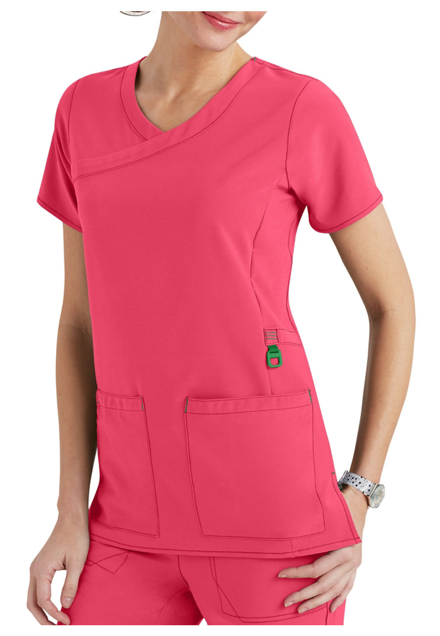 Carhartt Cross-Flex Y-neck Scrub Tops - Azalea - 2X plus size,  plus size fashion plus size appare