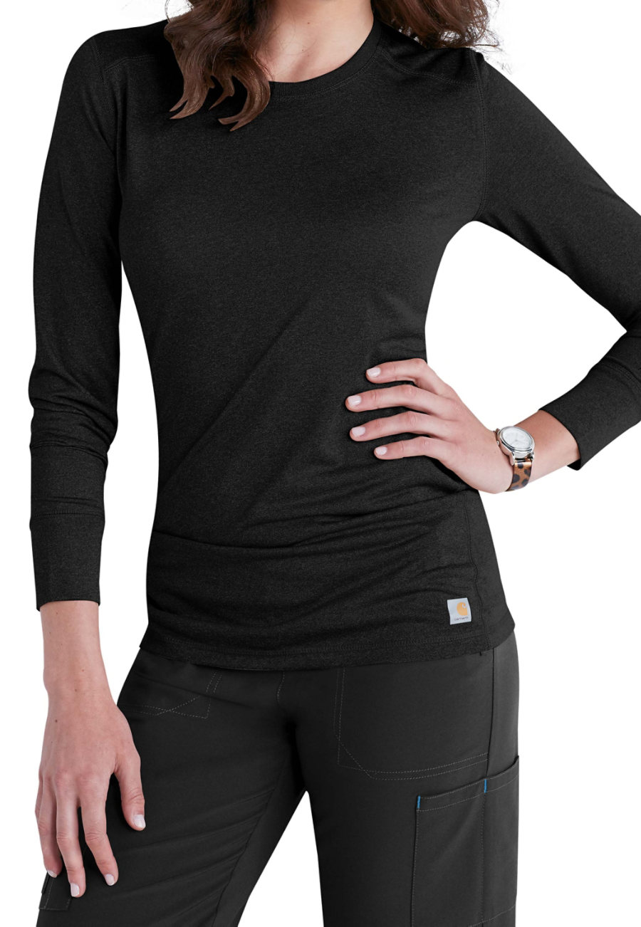 Carhartt Force Womens Long Sleeve Underscrub Tees - Black - 2X