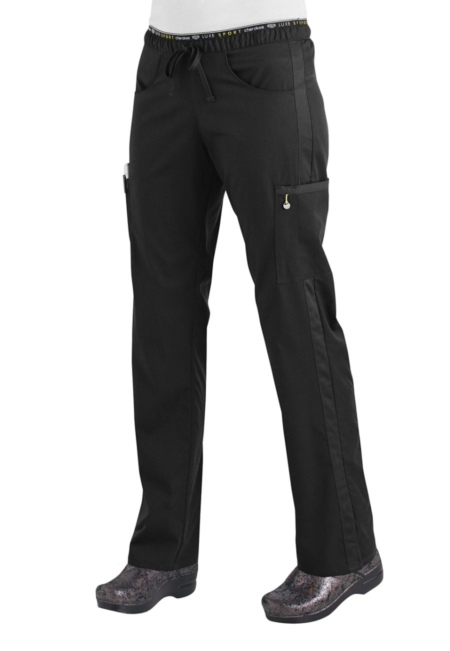 Cherokee Luxe Sport Drawstring Cargo Scrub Pants - Black - L CK003