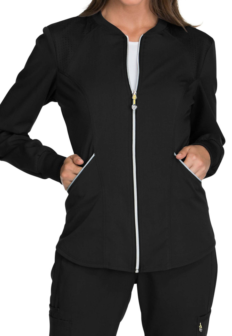 Cherokee Luxe Sport Zip Front Warm-Up Scrub Jackets