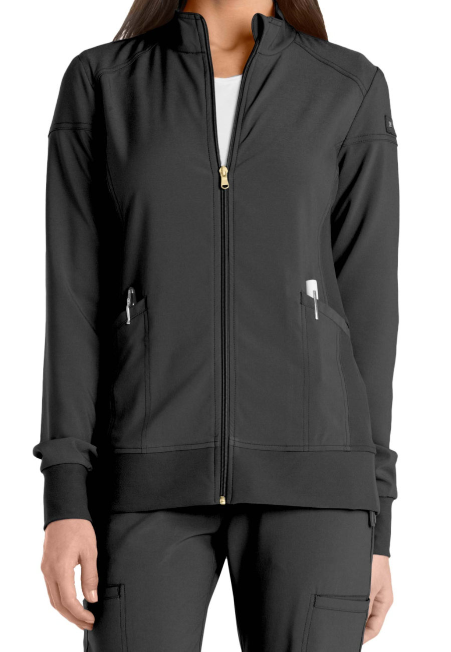Cherokee Iflex Zip Front Warm Up Scrub Jackets - Black - 3X plus size,  plus size fashion plus size appare