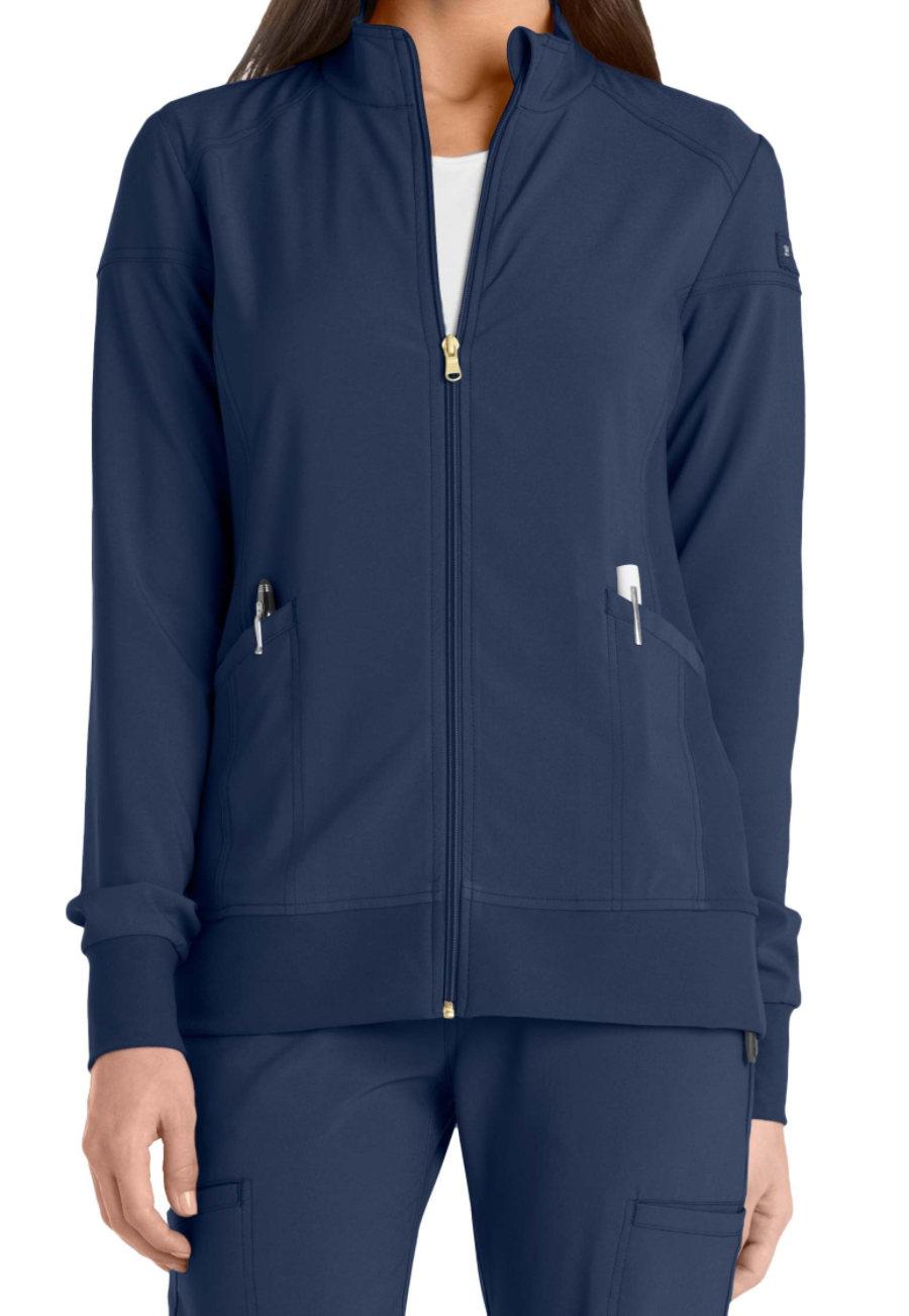 Cherokee Iflex Zip Front Warm Up Scrub Jackets - Navy - 4X plus size,  plus size fashion plus size appare