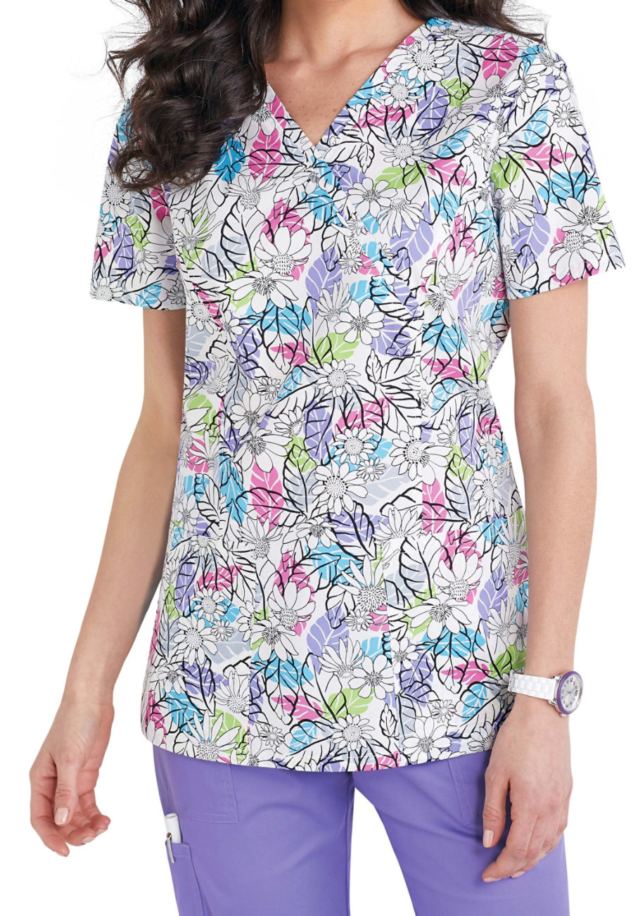 Cherokee Please Don't Leaf Me Crossover Print Scrub Tops - Please Dont Leaf Me