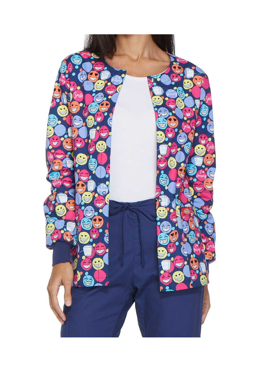 Dickies EDS Signature I Heart Flossing Print Scrub Jackets - I Heart Flossing