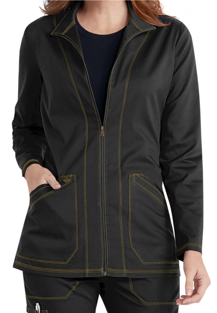 Dickies Essence Zip Front Warm Up Scrub Jackets - Black - 2X plus size,  plus size fashion plus size appare
