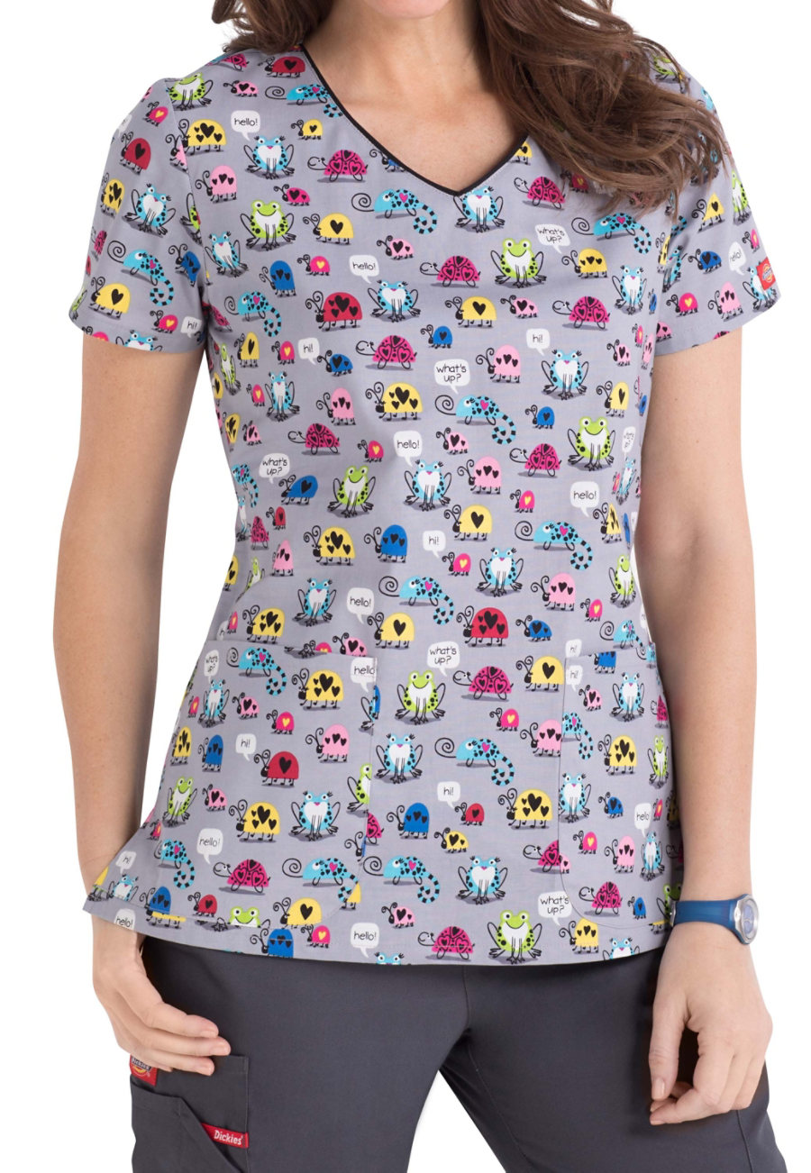 Dickies EDS Signature Chatter Bugs V-neck Print Scub Tops - Chatter Bugs