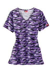Dickies EDS Get Back In Line Sparkling Plum V-neck Print Scrub Tops