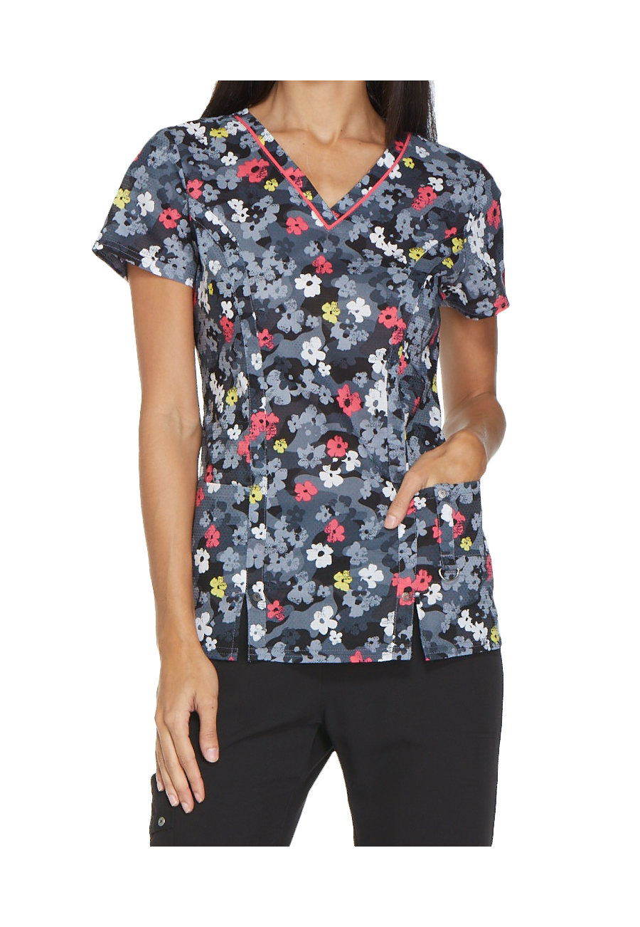 Dickies Xtreme Stretch Camo Ka Bloom V-neck Print Scrub Tops - Camo Ka Bloom