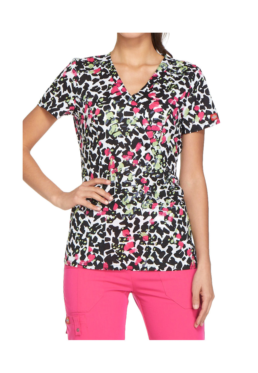 Dickies Xtreme Stretch Too Spot To Handle Mock Wrap Print Scrub Tops - Too Spot To Handle