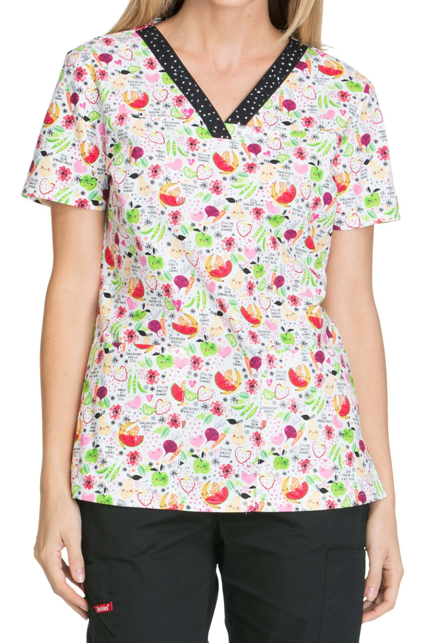 Dickies EDS Nuts About Nutrtion Print Scrub Tops - Nuts About Nutrition