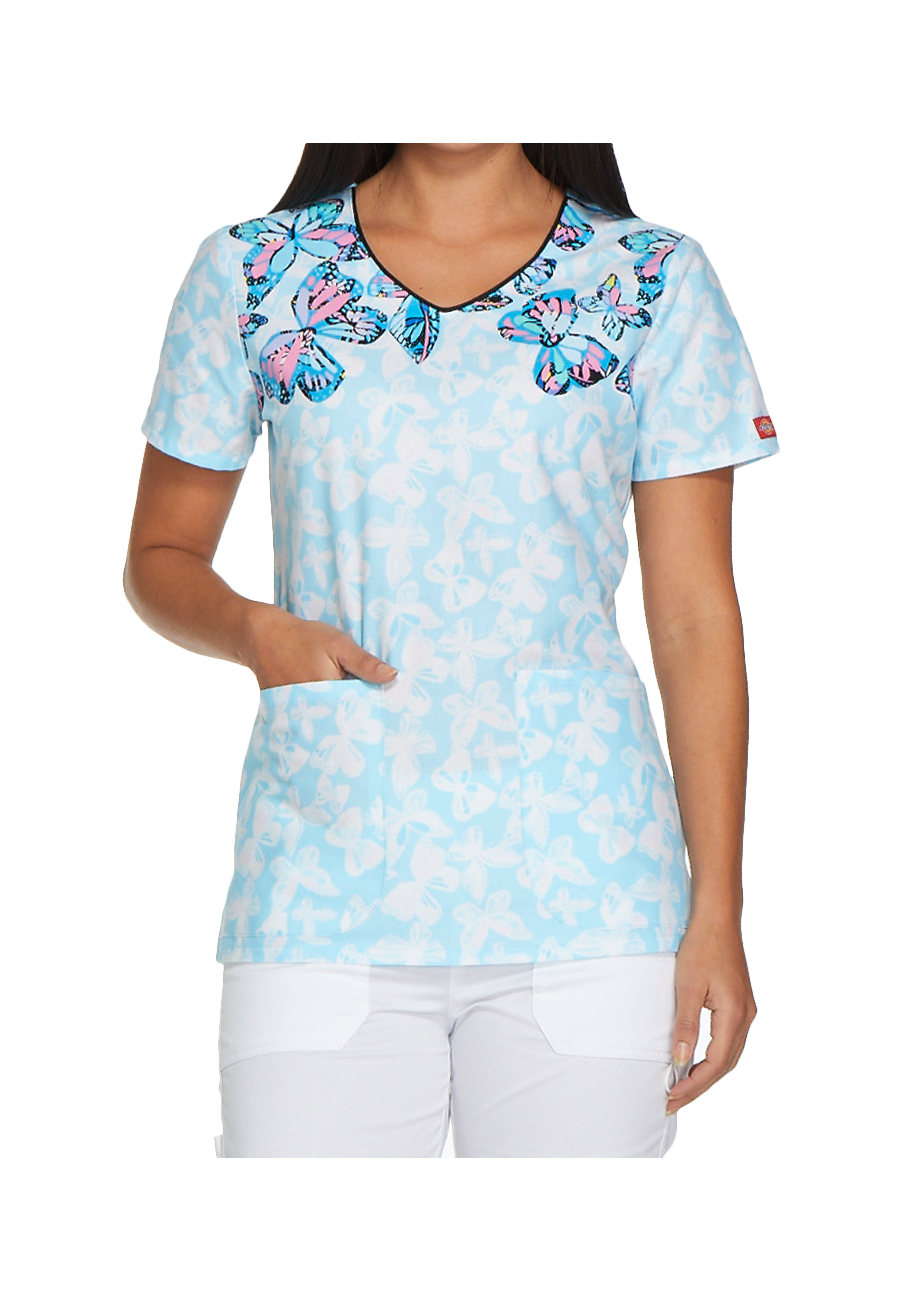 Dickies Gen Flex Flutterly Fantastic V-neck Print Scrub Tops - Flutterly Fantastic