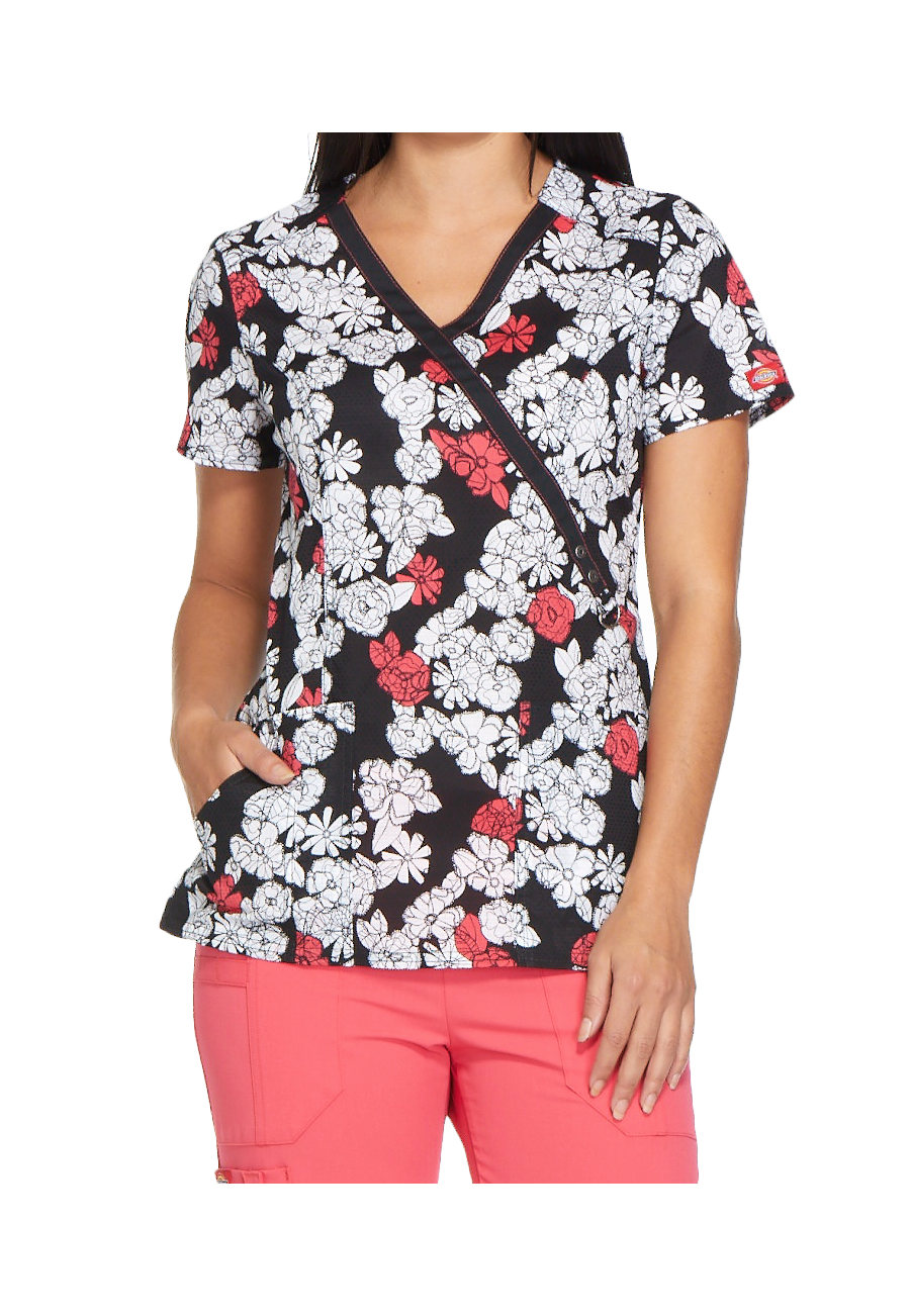 Dickies Xtreme Stretch Lace Bouquet Mock Wrap Print Scrub Tops - Lace Bouquet