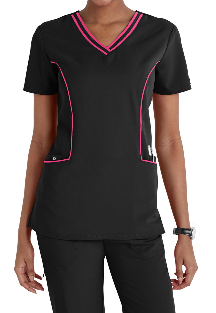 Dickies Xtreme Stretch Piping Trimmed Scrub Tops/hot pink
