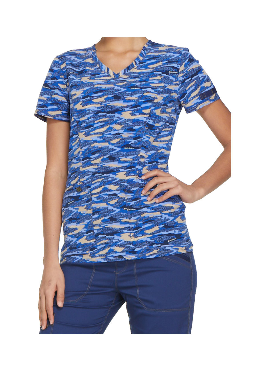 Dickies Essence Get Back In Line V-neck Print Scrub Tops - Get Back In Line Navy