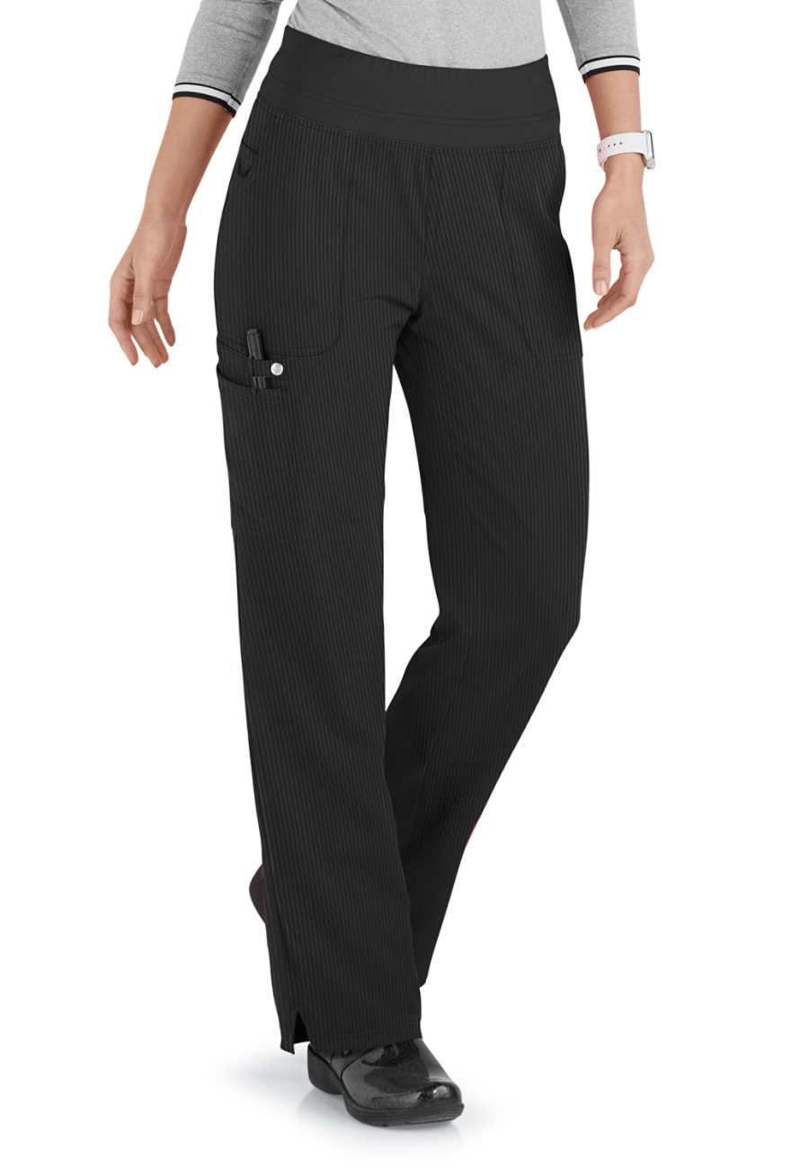 ELLE Joie De Vivre Yoga Knit Waist Cargo Tonal Texture Scrub Pants Tonal