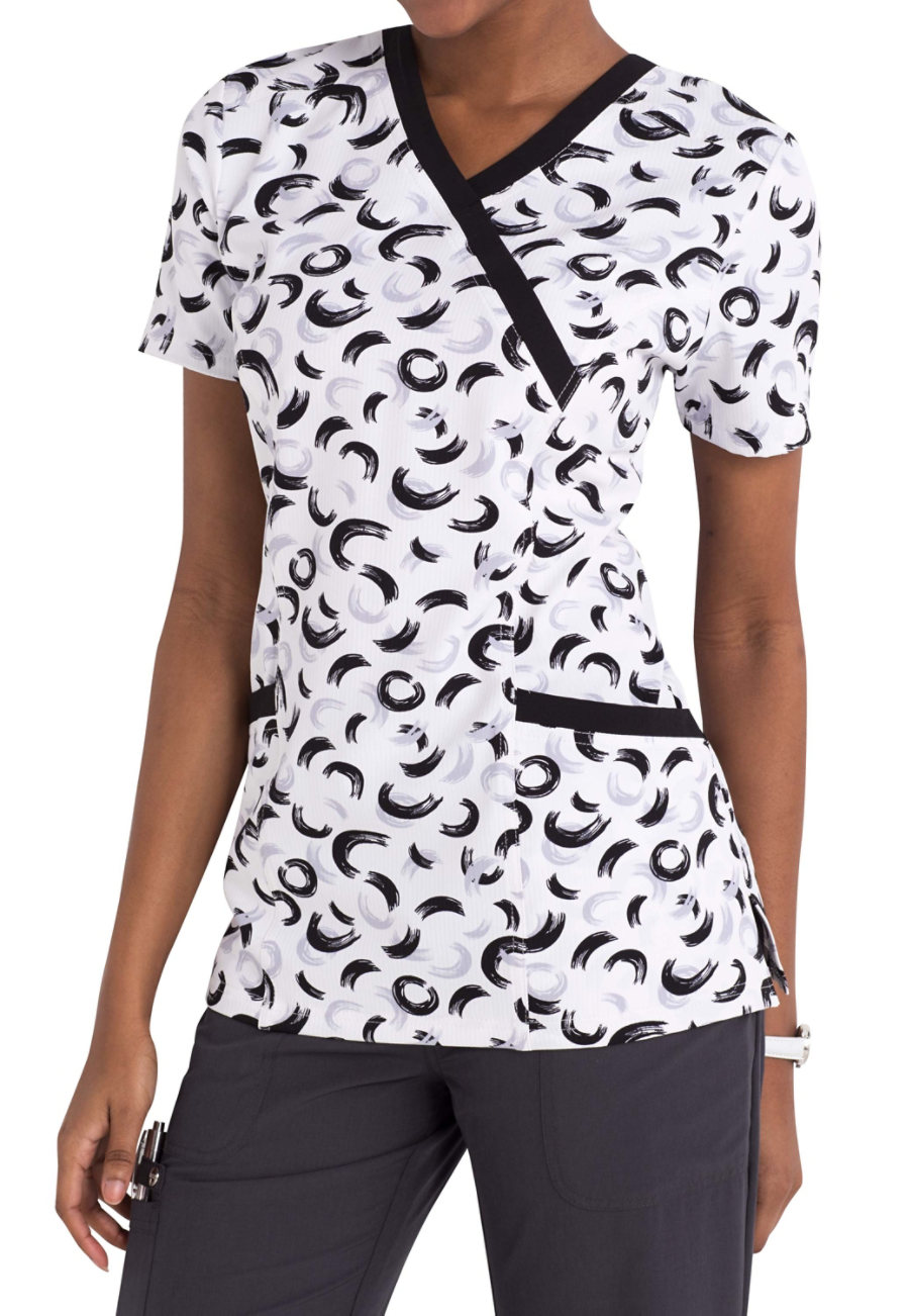 ELLE Brush Stroke of Genius Mock Wrap Print Scrub Tops
