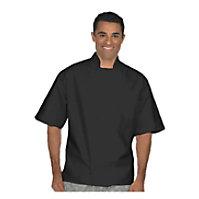 Fame Black Short Sleeve Knot Chef Coat