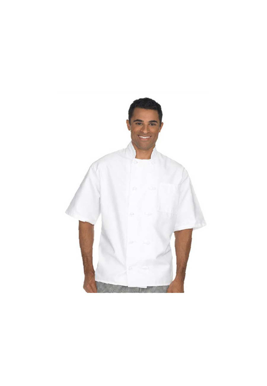 Fame Black Short Sleeve 10 Knot Chef Coat - White - 5X plus size,  plus size fashion plus size appare