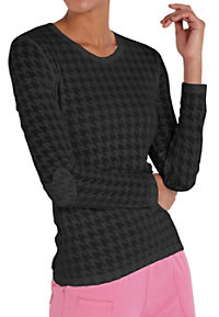HeartSoul Heart On Her Sleeve Houndstooth Burnout Underscrub Tees