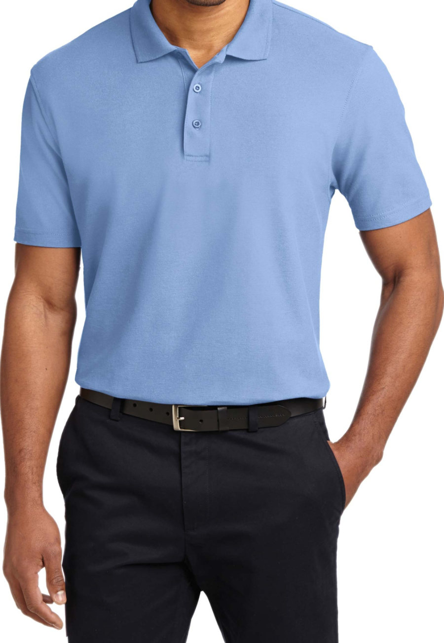 Port Authority Mens Stain Resistant Polo Tees - Light Blue - XS