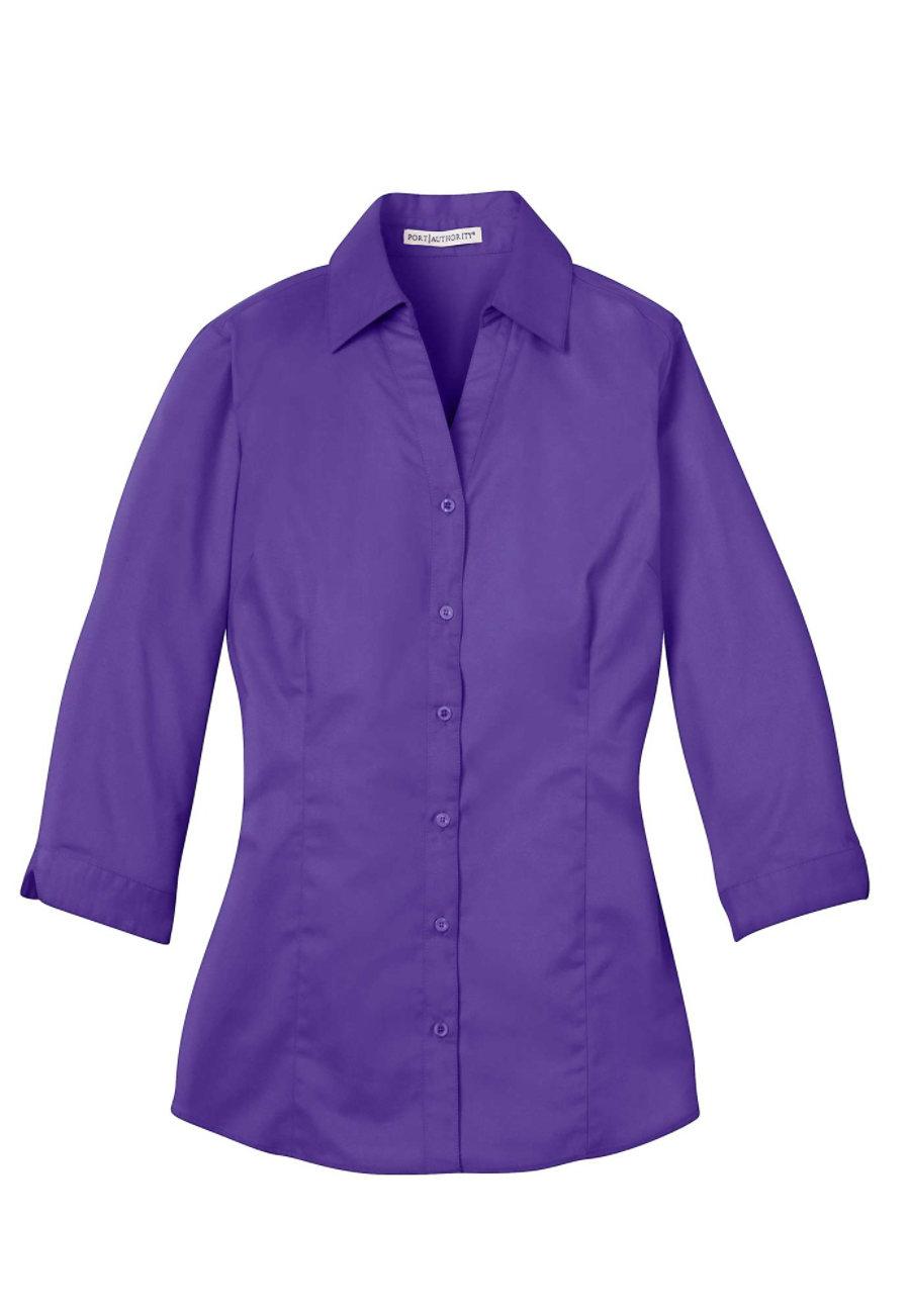 Port Authority Ladies 3/4 Length Sleeve Wrinkle Resistant Blouse - Purple - 4X plus size,  plus size fashion plus size appare