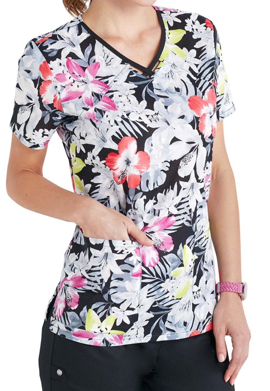 Cherokee Runway Spectropical Keyhole Print Scrub Tops - Spec-tropical