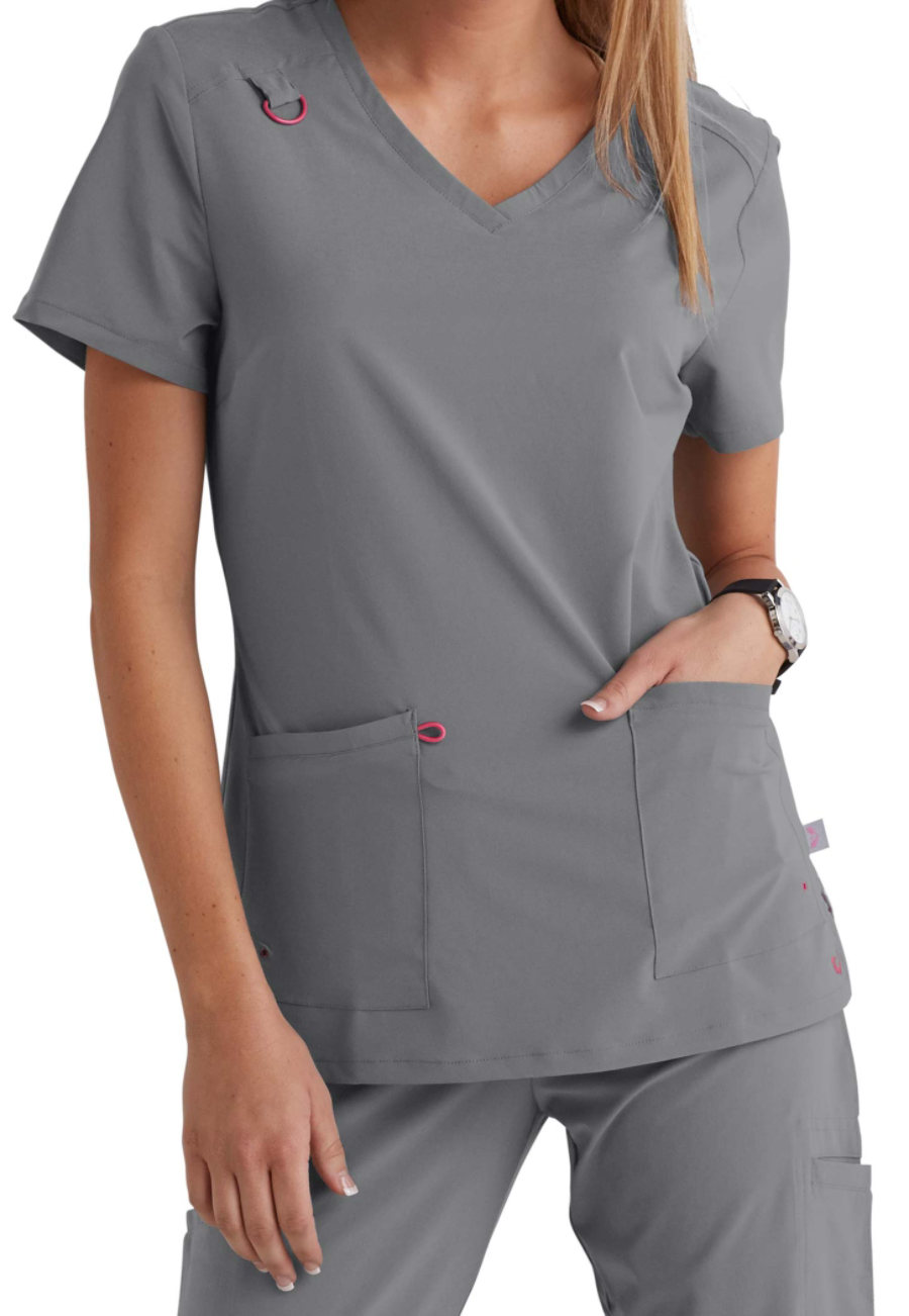 Smitten Rumor V-neck Scrub Tops - Steel - M plus size,  plus size fashion plus size appare