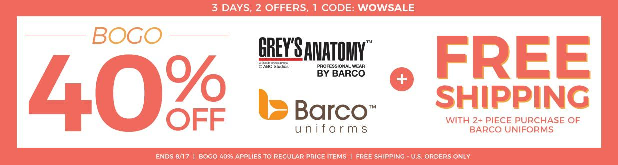 Free Shipping with Barco Uniform